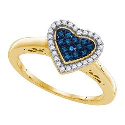 925 Sterling Silver Yellow 0.17CTW DIAMOND HEART RING