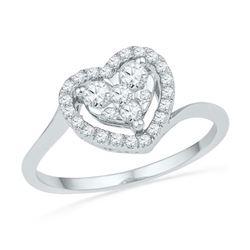 10KT White Gold 0.33CTW DIAMOND FASHION HEART RING