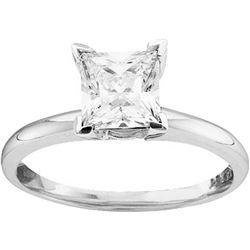 14kt White Gold Womens Princess Diamond Solitaire Brida