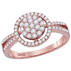 10kt Rose Gold Womens Round Diamond Concentric Circle C