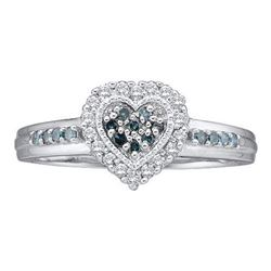 14KT White Gold 0.25CTW BLUE DIAMOND HEART RING