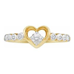 10KT Yellow Gold 0.10CTW DIAMOND LADIES HEART RING