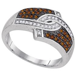 10KT White Gold 0.33CTW COGNAC DIAMOND FASHION RING