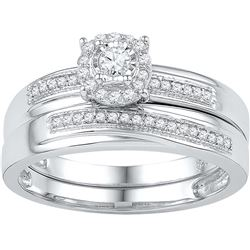 10k White Gold Womens Natural Round Diamond Bridal Wedd