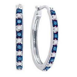 925 Sterling Silver White 0.25CTW DIAMOND HOOPS EARRING
