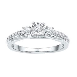 10KT White Gold 0.33CTW-Diamond BRIDAL RING