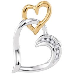 10KT White Gold Two Tone 0.03CTW DIAMOND FASHION PENDAN