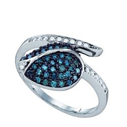 10KT White Gold 0.49CTW BLUE DIAMOND MICRO PAVE RING