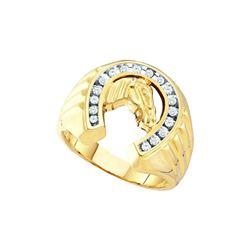 10kt Yellow Gold Mens Round Natural Diamond Horseshoe F