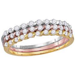 10kt Tri-tone Gold Womens Round Natural Diamond Fashion