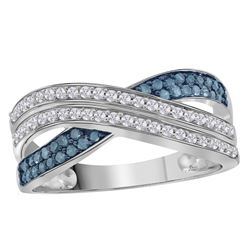 Sterling Silver Womens Round Blue Color Enhanced Diamon