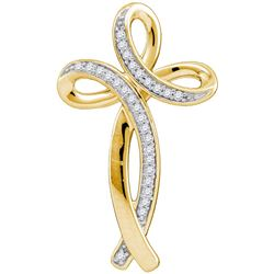 10kt Yellow Gold Womens Round Natural Diamond Cross Fas