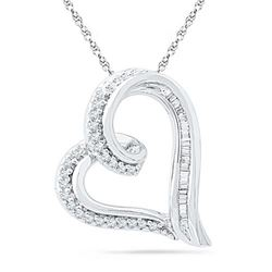 10KT White Gold 0.16CTW DIAMOND FASHION PENDANT