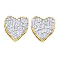 10KT Yellow Gold 0.33CTW DIAMOND LADIES HEART EARRINGS