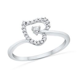10KT White Gold 0.13CTW DIAMOND HEART RING