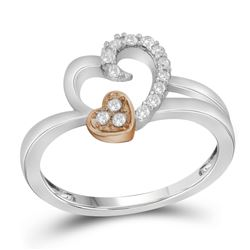 10kt Two-tone Gold Womens Round Natural Diamond Heart L