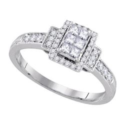 14KT White Gold 0.38CTW DIAMOND INVISIBLE BRIDAL RING