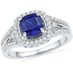 10kt White Gold Womens Lab-Created Blue Sapphire Solita