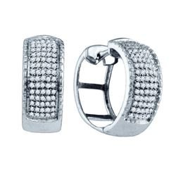 925 Sterling Silver White 0.45CTW DIAMOND MICRO PAVE EA
