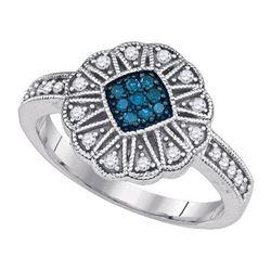 10KT White Gold 0.25CTW BLUE DIAMOND FASHION RING