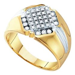 10K Yellow-gold 0.50CTW ROUND DIAMOND MENS CLUSTER RIN