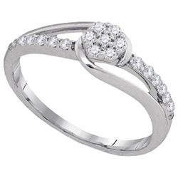 10KT White Gold 0.25CTW DIAMOND FLOWER RING
