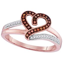 10KT Rose Gold 0.14CTW RED DIAMOND MICRO-PAVE RING
