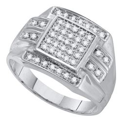 10KT White Gold 0.35CTW DIAMOND MICRO PAVE MENS RING