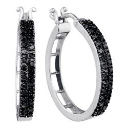 10KT White Gold 0.55CTW-BLACK DIAMOND HOOPS