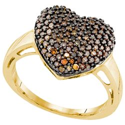 10K Yellow-gold 0.60CTW DIAMOND HEART RING