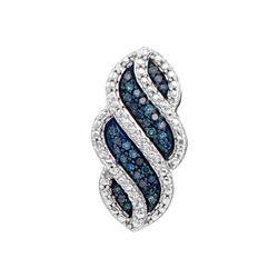 10kt White Gold Womens Round Blue Colored Diamond Strip