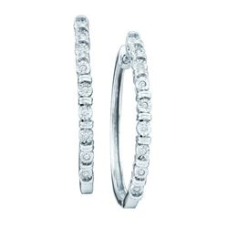 10KT White Gold 0.05CTW DIAMOND MICRO PAVE FASHION HOOP
