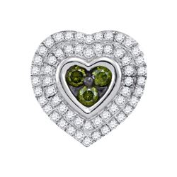 10kt White Gold Womens Round Green Colored Diamond Hear