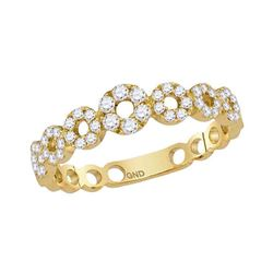 10kt Yellow Gold Womens Round Diamond Circles Stackable