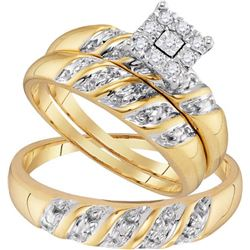 10K Yellow-gold 0.13CTW DIAMOND FASHION TRIO-SET