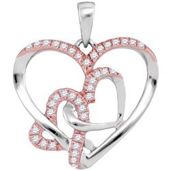 10KT White Gold 0.25CTW DIAMOND HEART PENDANT
