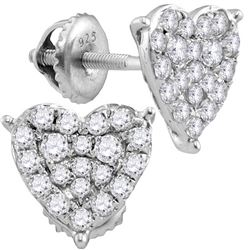 10kt White Gold Womens Round Diamond Heart Cluster Stud