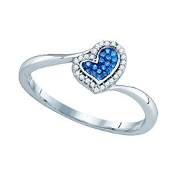 10KT White Gold 0.09CTW BLUE DIAMOND MICRO PAVE RING