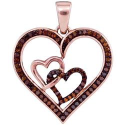 10KT Rose Gold 0.25CTW DIAMOND HEART PENDANT