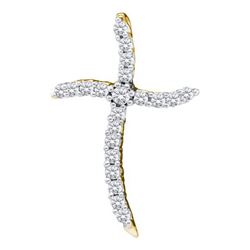 14K Yellow-gold 0.25CTW DIAMOND CROSS PENDANT