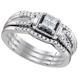 10KT White Gold 0.35CTW DIAMOND INVISIBLE BRIDAL SET