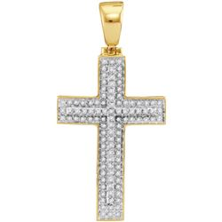 10kt Yellow Gold Mens Round Diamond Christian Cross Rai