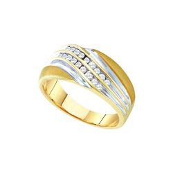 10kt Yellow Two-tone Gold Mens Round Channel-set Diamon