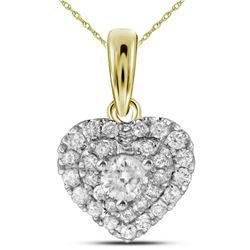 14kt Yellow Gold Womens Round Diamond Heart Love Pendan