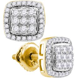 10kt Yellow Gold Womens Round Diamond Square Cluster Ea