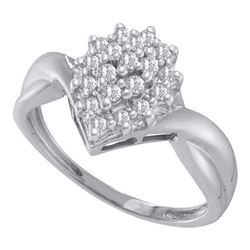 10KT White Gold 0.25CT DIAMOND CLUSTER RING