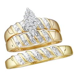 10KT Yellow Gold 0.10CTW DIAMOND CLUSTER TRIO SET