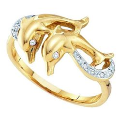 10KT Yellow Gold 0.05CTW DIAMOND LADIES DOLPHIN RING