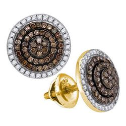 10K Yellow-gold 0.55CTW COGNAC DIAMOND MICRO-PAVE EARRI