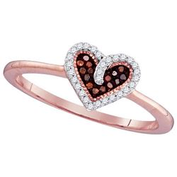 10KT Rose Gold 0.10CTW RED DIAMOND MICRO-PAVE RING